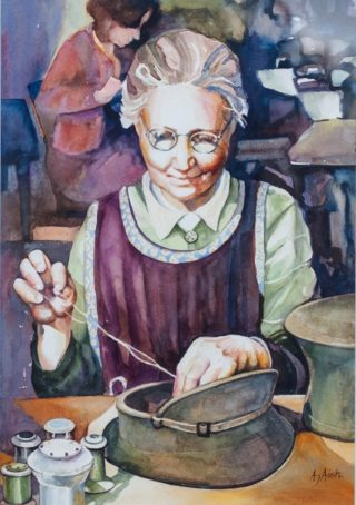 A Watercolour painting by Amanda Aish depicting Woman with main colour being Blue Brown and Grey and titled Nimble Fingers