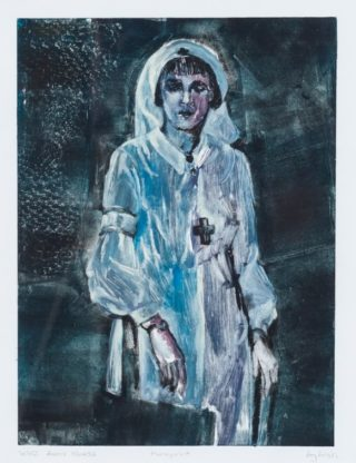 An Oil painting by Amanda Aish depicting Woman with main colour being Black Grey and White and titled Frontline Nurse
