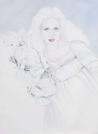 A Watercolour painting by Amanda Aish Woman with main colour being Cream Grey and White and titled Persephone