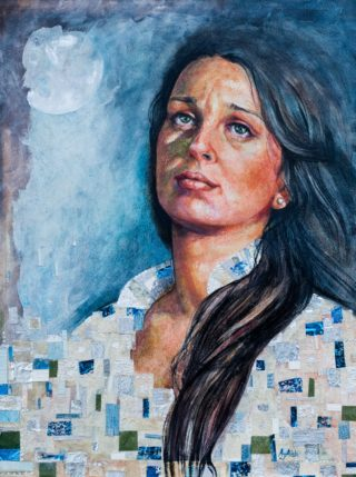 A Watercolour painting by Amanda Aish depicting Woman with main colour being Black Blue and Ochre and titled Achelois
