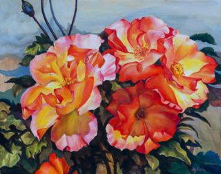 An Oil painting by Amanda Aish depicting Flowers with main colour being Blue Green and Orange and titled Breathing Sunlight