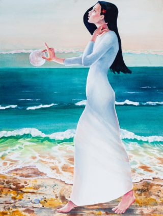 A Watercolour painting by Amanda Aish depicting Woman with main colour being Blue Ochre and Red and titled Red Moon Triptych Becoming
