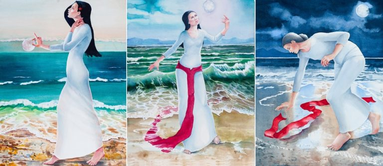 Watercolour Painting by Amanda Aish titled Red Moon Triptych Becoming