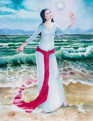 A Watercolour painting by Amanda Aish depicting Woman with main colour being Blue Ochre and Red and titled Red Moon Triptych Flow