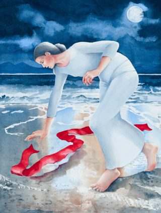 A Watercolour painting by Amanda Aish depicting Woman with main colour being Blue Ochre and Red and titled Red Moon Triptych Release