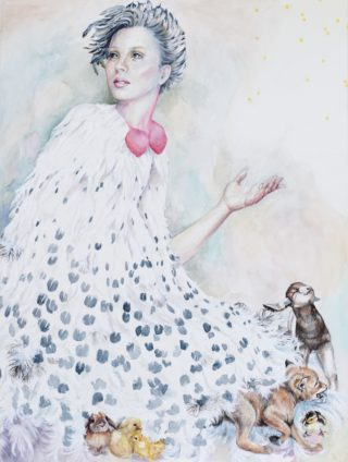A Watercolour painting by Amanda Aish depicting Woman with main colour being Cream Grey and Pink and titled Maia Casts the Spring Seeds