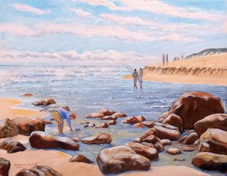An Oil painting by Gregory Pastoll in the Impressionist style  depicting Beach River and Rocks with main colour being Blue Brown and Cream and titled At the Mouth of the Margaret River