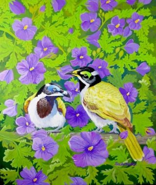 A Gouache painting by Ellen Lee Osterfield in the Realist style  depicting Birds with main colour being Green Purple and Yellow and titled Honeyeaters in Native Hibiscus