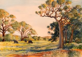 A Watercolour painting by Gregory Pastoll in the Contemporary Realist style  Animals Farmland and Sunset with main colour being Brown Green and Orange and titled Field with Trees and Cows