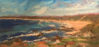 An Oil painting by Margaret Morgan Watkins in the Impressionist style  depicting Seascape Beach Water and Waves with main colour being Blue Ochre and Olive and titled Broomshead Northern NSW from the Lookout