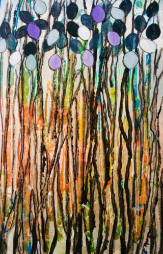 An Acrylic painting by Margaret Morgan Watkins in the Contemporary style  depicting Trees with main colour being Blue Brown and Green and titled Through the Forest
