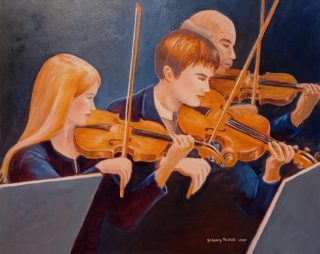 An Oil painting by Gregory Pastoll in the Contemporary Realist style  depicting People Music with main colour being Blue Brown and Gold and titled Three Violins