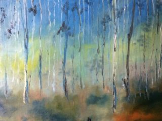 An Oil painting by Margaret Morgan Watkins Trees with main colour being Blue Brown and Yellow and titled Through the Blue Gum Forest