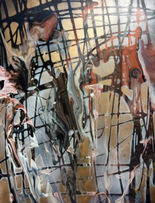 An Acrylic painting by Margaret Morgan Watkins in the Abstract style  with main colour being Black Brown and Grey and titled Fantasia