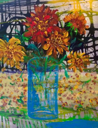 An Acrylic painting by Margaret Morgan Watkins in the Contemporary style  depicting Flowers with main colour being Blue Orange and Yellow and titled Sunflowers - an ode to Spring