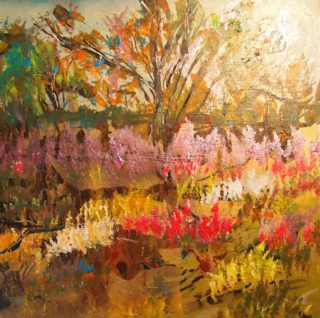 An Acrylic painting by Margaret Morgan Watkins Flowers and Trees with main colour being Ochre Olive and Pink and titled Wildflowers of the West