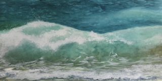 A Watercolour artwork by Renee Loh in the Realist style  depicting  Beach Sea and Water with main colour being Blue and titled The waves of change