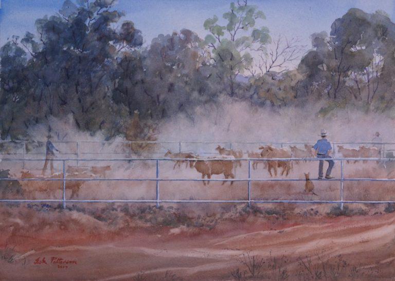 Watercolour Painting by Isla Patterson titled Cattle Muster near Derby, WA