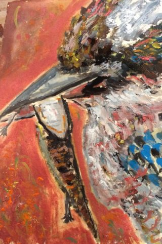 A Gouache painting by Margaret Morgan Watkins depicting Birds with main colour being Orange and Red and titled Colourful Kookaburra