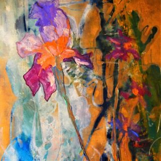 An Acrylic painting by Margaret Morgan Watkins in the Contemporary style  Flowers with main colour being Blue Orange and White and titled The Wild Iris
