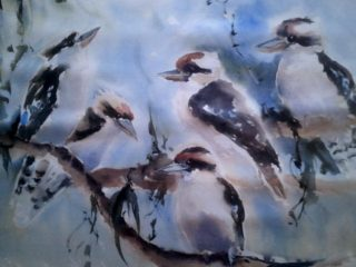 A Watercolour artwork by Maureen Runge depicting Birds with main colour being Blue and titled Herman are you listening