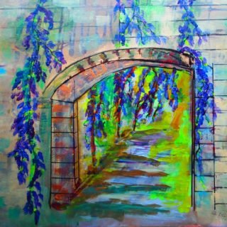 An Acrylic painting by Margaret Morgan Watkins depicting Flowers and titled The Wisteria Arch