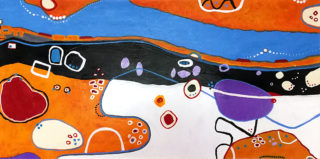 A Mixed Media painting by Angela ILIADIS in the Contemporary style  depicting Landscape River and Rocks with main colour being Black Blue and Orange and titled Aerial