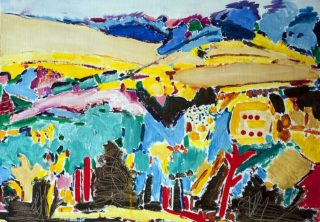 A Mixed Media painting by Angela Iliadis in the Contemporary style  depicting Landscape Outback with main colour being Blue Red and Yellow and titled A Symphony of Colour