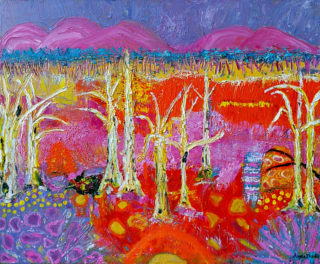 An Oil painting by Angela ILIADIS in the Contemporary style  depicting Landscape Outback with main colour being Blue Orange and Pink and titled Burnt Australian Landscape