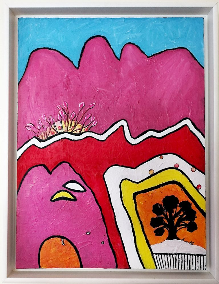 Mixed Media Painting by Angela ILIADIS titled Pink Mountain
