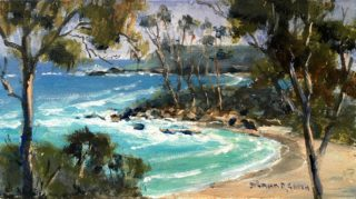 An Oil painting by Diana Garth in the Impressionist style  depicting Seascape Beach Trees and Water with main colour being Blue Ochre and Olive and titled At Manyana