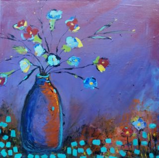 A Mixed Media painting by Angela ILIADIS in the Contemporary style  depicting Still Life Flowers Outback and Vases with main colour being Blue Green and Orange and titled Floral Arrangement