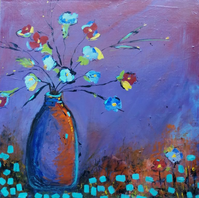 Mixed Media Painting by Angela ILIADIS titled Floral Arrangement