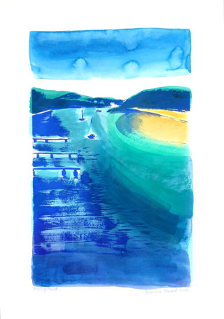 A Mixed Media painting by Jennifer Baird in the Contemporary style  depicting Seascape Beach and Sea with main colour being Blue and Green and titled Mossy Point