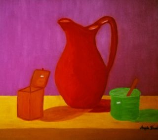 An Oil painting by Angela Iliadis in the Contemporary style  depicting Still Life Jugs with main colour being Red and titled Red Jug