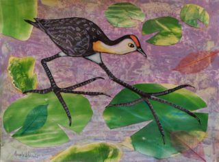 A Mixed Media painting by Angela Iliadis in the Contemporary style  depicting Birds with main colour being Green and Purple and titled Big Bird