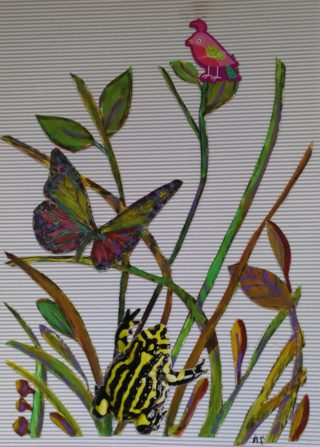 A Mixed Media painting by Angela Iliadis Animals Birds and Bush and titled Bush Creatures