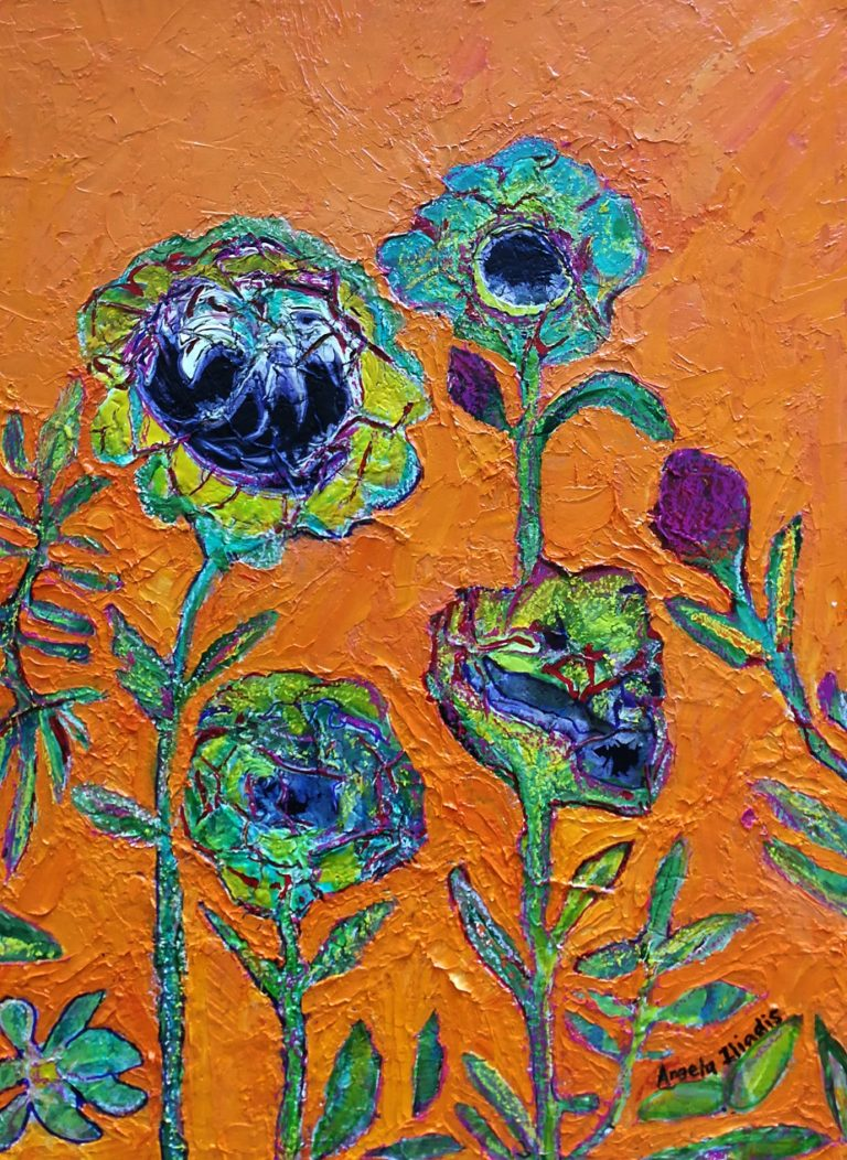 Mixed Media Painting by Angela Iliadis titled Flowers in the Wild