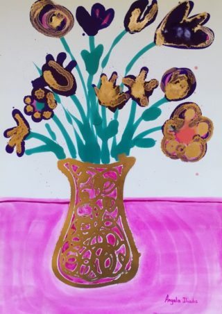 A Mixed Media painting by Angela Iliadis in the Contemporary style  depicting Flowers and Vases and titled Gold and Pink Vase