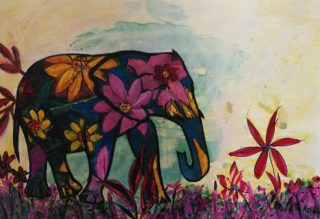 A Mixed Media artwork by Angela Iliadis in the Contemporary style  depicting Animals and titled Hawaiian Elephant