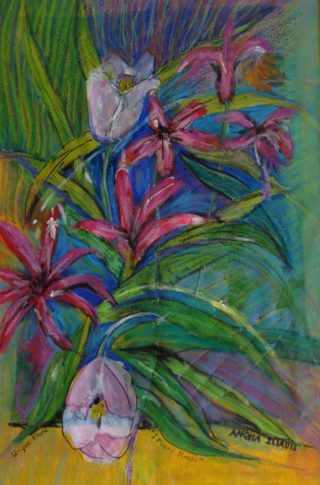 A  painting by Angela Iliadis in the Contemporary style  Flowers and titled I Fiori Rossi