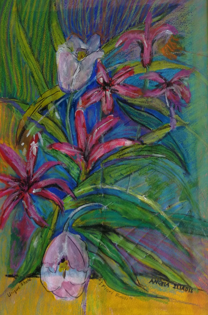 Painting by Angela Iliadis titled I Fiori Rossi