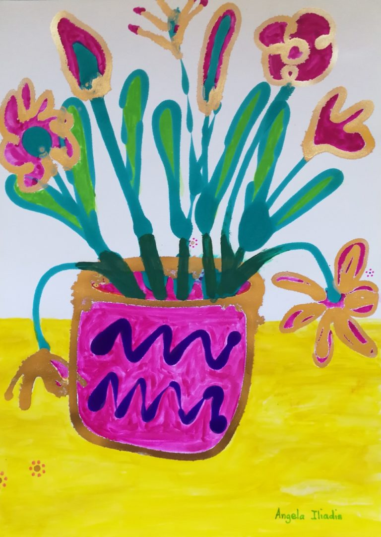 Mixed Media Painting by Angela Iliadis titled Pink and Purple Vase