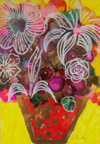 A Mixed Media painting by Angela Iliadis in the Contemporary style  depicting Still Life Flowers and Vases and titled Red and Gold Vase