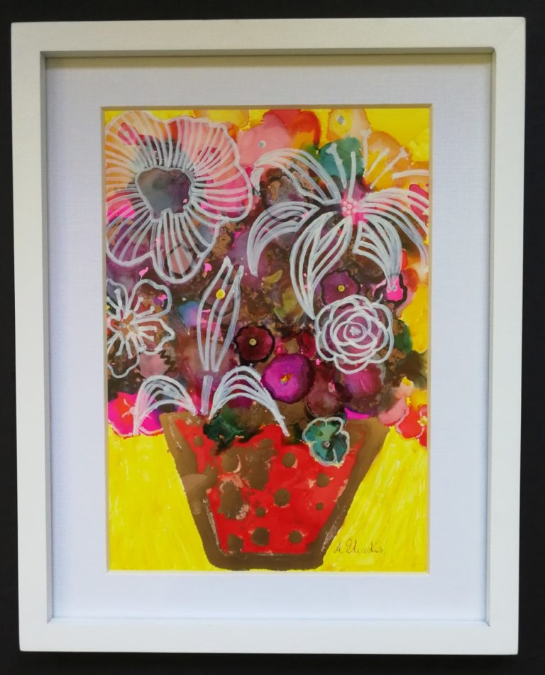 Mixed Media Painting by Angela Iliadis titled Red and Gold Vase