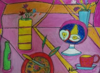 A Mixed Media painting by Angela Iliadis in the Contemporary style  depicting Still Life Kitchenware and titled Dinner Time