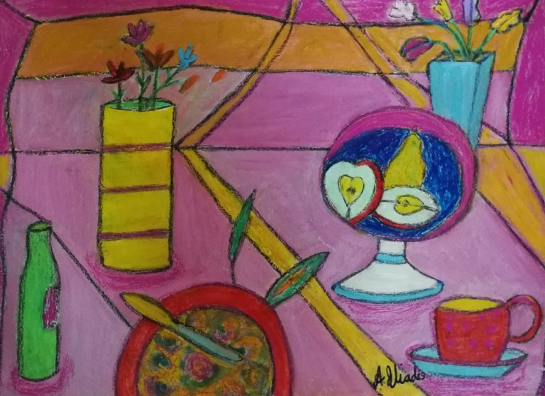 Painting by Angela Iliadis titled Dinner Time