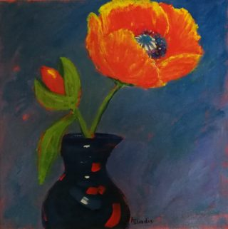 A  painting by Angela Iliadis Flowers and Vases with main colour being Black Blue and Red and titled Red Poppies