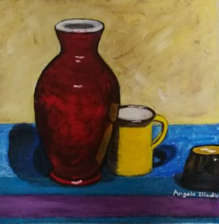 An Acrylic painting by Angela Iliadis in the Contemporary style  Jugs and Vases with main colour being Red and Yellow and titled Red Vase and Yellow Mug