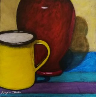 An Acrylic painting by Angela Iliadis in the Contemporary style  Jugs and Vases with main colour being Red and Yellow and titled Yellow Mug and Red Vase